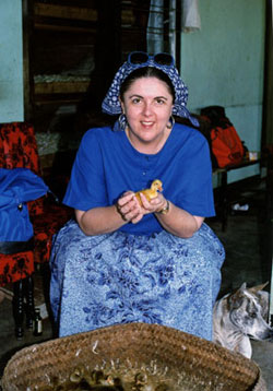 Ann Dunham visiting a Balinese duck farm as part of her work to secure bank loans for small businesses.