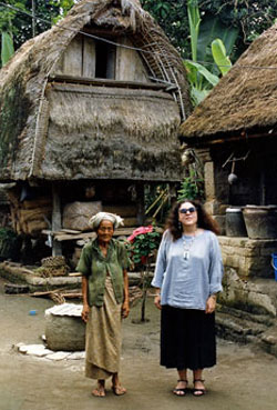 Ann Dunham with a villager in Lombok, Indonesia.
